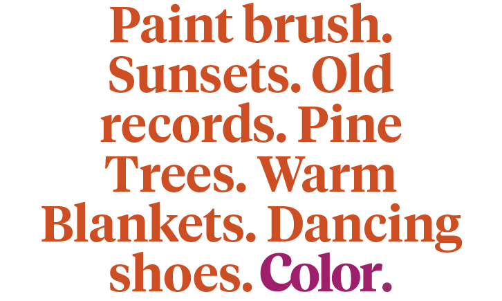 Paint brush. Sunsets. Old records. Pine Trees. Warm Blankets. Dancing Shoes. Color.
